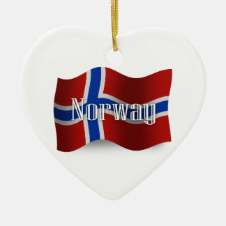 Norway Waving Flag Ceramic Heart Decoration