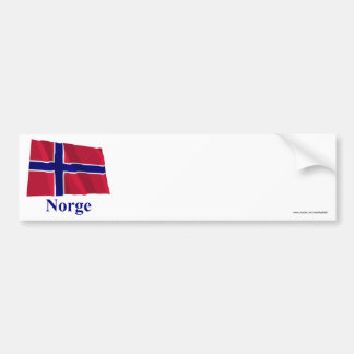 Norway Waving Flag with Name in Norwegian Bumper Sticker