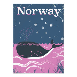 Norway whale vintage travel poster