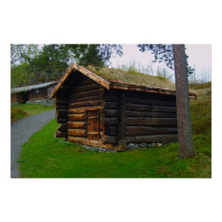 Norway, Wooden hut in high pastures Poster