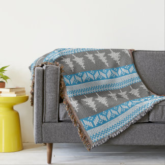 Norwegian Alpine Fir Trees Blue and Grey Pattern Throw Blanket