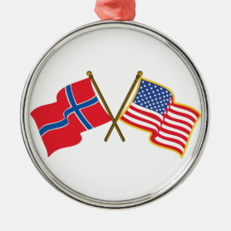 Norwegian American Flags Christmas Ornament
