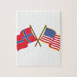 Norwegian American Flags Jigsaw Puzzle