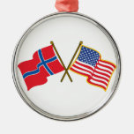 Norwegian American Flags Silver-Colored Round Decoration