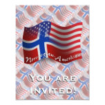 Norwegian-American Waving Flag 11 Cm X 14 Cm Invitation Card