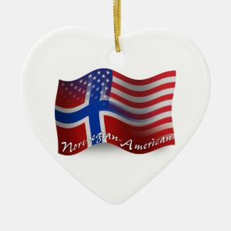 Norwegian-American Waving Flag Christmas Ornament