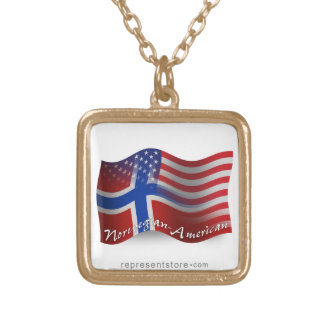 Norwegian-American Waving Flag Gold Plated Necklace