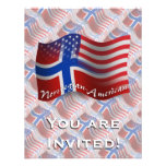 Norwegian-American Waving Flag Invitation