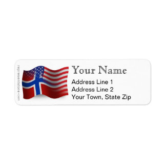 Norwegian-American Waving Flag Return Address Label