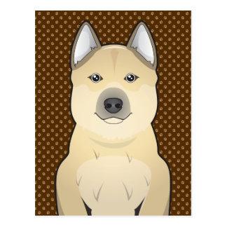 Norwegian Buhund Dog Cartoon Paws Post Card