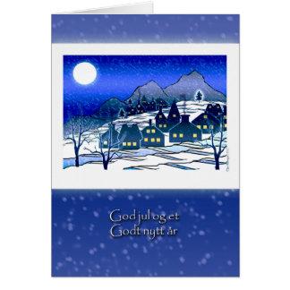 Norwegian Christmas, God Jul, Snowy Village Card