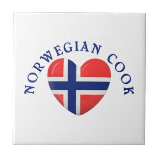 Norwegian Cook Heart Shaped Flag Ceramic Tile