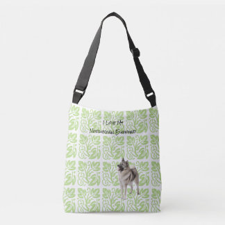 Norwegian Elkhound and Green Print [Med.] Crossbody Bag