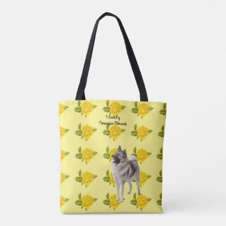 Norwegian Elkhound and Yellow Roses [Med] Tote Bag