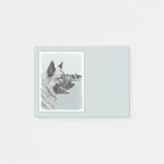 Norwegian Elkhound at Village Painting - Dog Art Post-it Notes