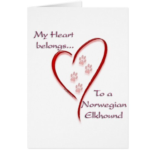 Norwegian Elkhound Heart Belongs Card