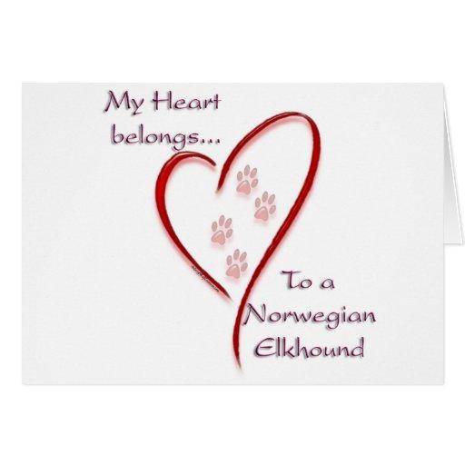 Norwegian Elkhound Heart Belongs Greeting Cards