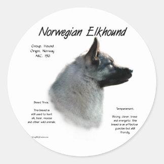 Norwegian Elkhound History Design Round Sticker