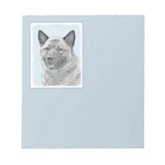 Norwegian Elkhound Painting - Original Dog Art Notepad