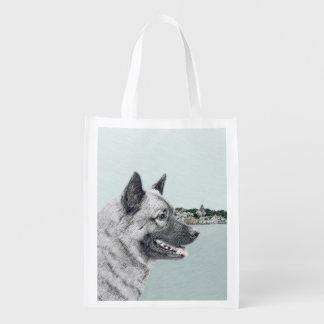 Norwegian Elkhound Reusable Grocery Bag