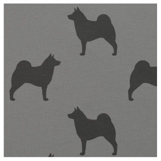 Norwegian Elkhound Silhouettes Pattern Fabric