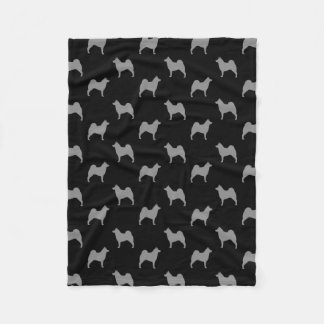 Norwegian Elkhound Silhouettes Pattern Fleece Blanket