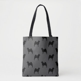 Norwegian Elkhound Silhouettes Pattern Tote Bag