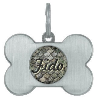 Norwegian Fish Scale Pattern Slate Roof Pet ID Tag