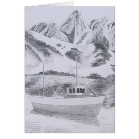 Norwegian Fishing Boat (Pencil) Card