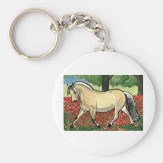 Norwegian Fjord HORSE ART Basic Round Button Key Ring