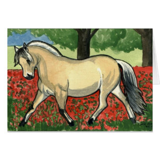 Norwegian Fjord HORSE ART Greeting Card