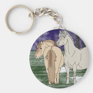 Norwegian Fjord Horses Basic Round Button Key Ring