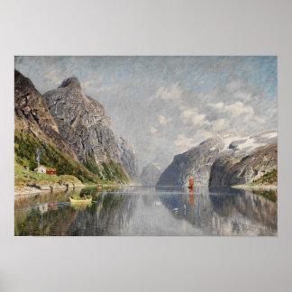 Norwegian fjord landscape poster