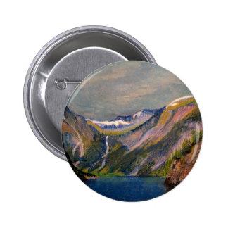 Norwegian fjord oil pastel 6 cm round badge