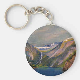 Norwegian fjord oil pastel basic round button key ring