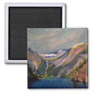 Norwegian fjord oil pastel magnet