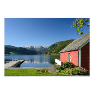 Norwegian fjord view and boathouse photo art