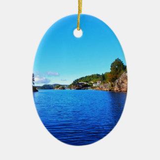 Norwegian fjords ceramic oval decoration