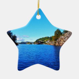 Norwegian fjords ceramic star decoration