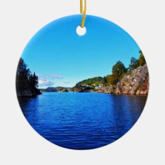 Norwegian fjords round ceramic decoration