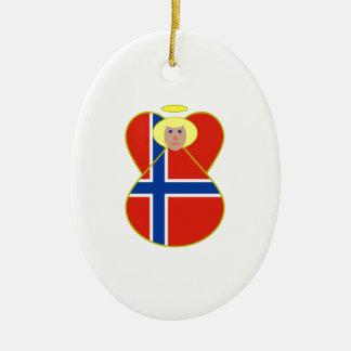 Norwegian Flag Angel Blonde Hair Christmas Ornament
