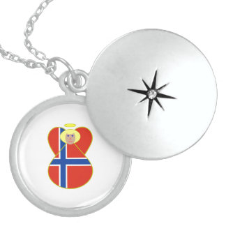 Norwegian Flag Angel Blonde Hair Round Locket Necklace