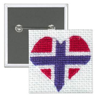 Norwegian Flag Heart Cross Stitch Nordic Norway 15 Cm Square Badge