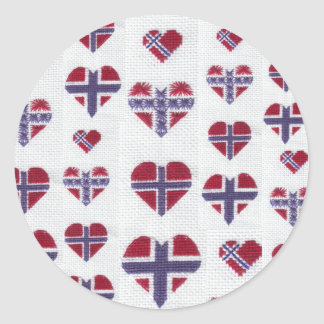 Norwegian Flag Heart Cross Stitch Nordic Norway Hj Classic Round Sticker