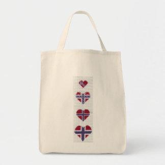 Norwegian Flag Heart Cross Stitch Nordic Norway Hj Grocery Tote Bag