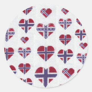 Norwegian Flag Heart Cross Stitch Nordic Norway Hj Round Sticker