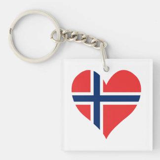 Norwegian Flag Heart Key Ring