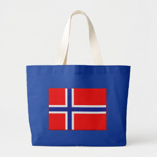 Norwegian Flag in Red and Blue Large Tote Bag