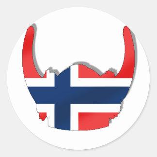 Norwegian flag of Norway viking helmet Round Sticker