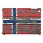 Norwegian Flag on Rough Wood Boards Effect iPad Mini Cases